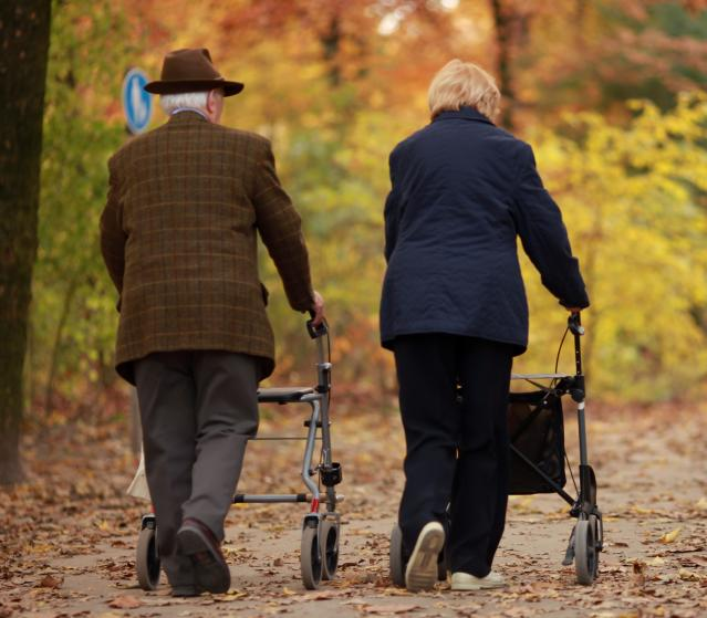 square of Seniors Can Use Walkers to Maintain Mobility